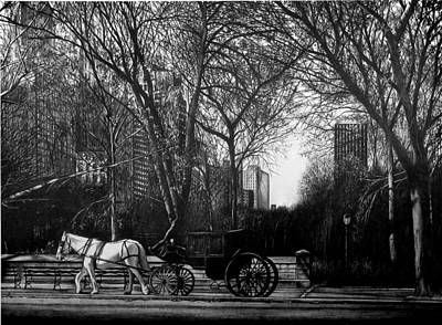 Cityscape.pencil Drawing - Hansom Cab by Jerry Winick