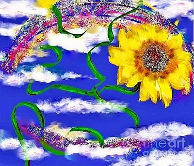Happiness Is A Sunflower Art Print by Lori  Lovetere
