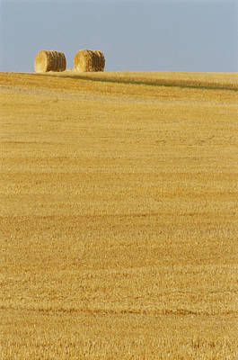 Hay Bales, Holland, Manitoba Art Print by Mike Grandmailson