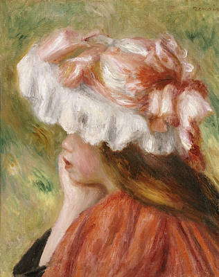 Chin On Hand Painting - Head Of A Young Girl In A Red Hat  by Pierre Auguste Renoir