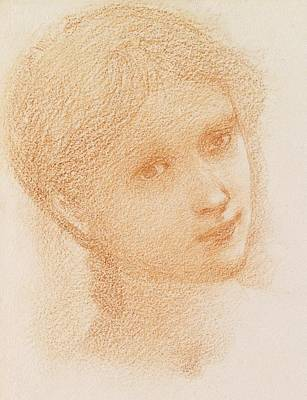 Sir Drawing - Head Study Of A Girl by Sir Edward Burne-Jones