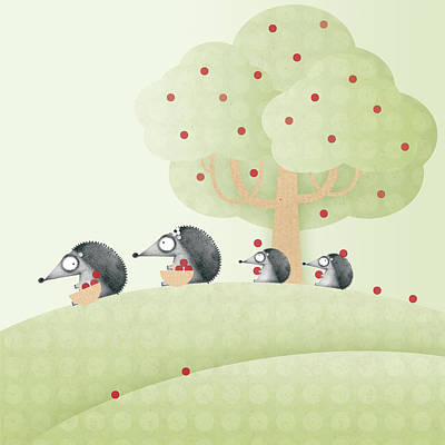 In A Row Digital Art - Hedgehogs by ©cupofsnowflakes