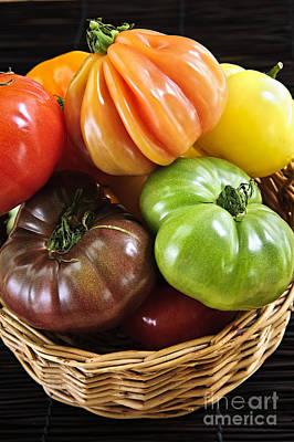 Baskets Photograph - Heirloom Tomatoes by Elena Elisseeva