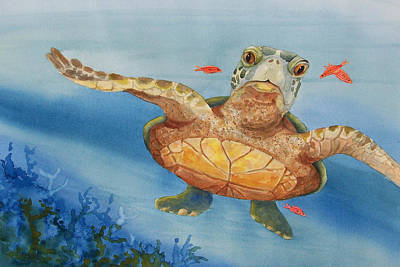 Painting - Henry C. Turtle-lunch With Friends by Joy Braverman