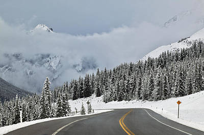 Highway 40 In Winter, Highwood Pass Art Print by Darwin Wiggett