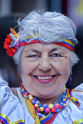 Hispanic Columbus Day Parade Nyc 11 9 11 Female Marcher Art Print by Robert Ullmann