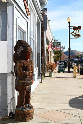 Photograph - Historic Niles District In California Near Fremont . Indian Statue At The Devils Workshop And Mercan by Wingsdomain Art and Photography