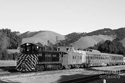 Historic Niles Trains In California . Southern Pacific Locomotive And Sante Fe Caboose.7d10819.bw Art Print by Wingsdomain Art and Photography
