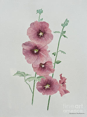 Painting - Hollyhocks by Barbara McMahon