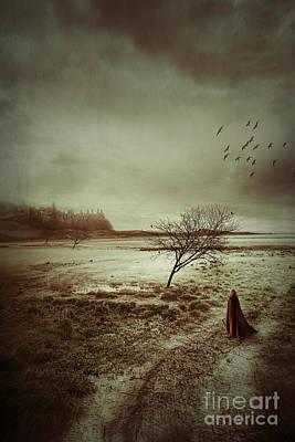 Hooded Figure Walking In Bleak Landscape Art Print