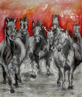 Horse Racing Art Print by Sanja  Prsic