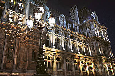 Nighttime Photograph - Hotel De Ville In Paris by Elena Elisseeva