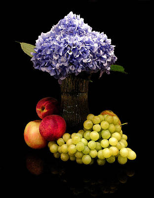 Purple Grapes Digital Art - Hydrangea And Fruit by Sandi OReilly