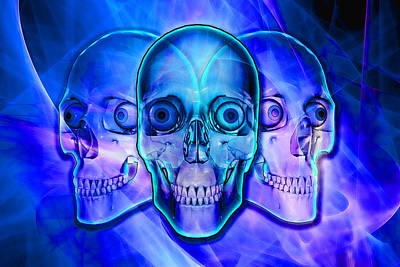 Digital Art - Illuminated Skulls by Michael Stowers