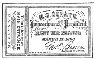 Impeachment Ticket, 1868 Art Print by Photo Researchers