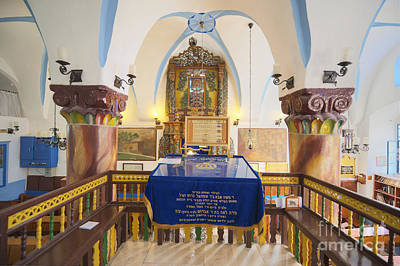 Judaic Photograph - Interior Of Synagogue Sanctuary by Noam Armonn