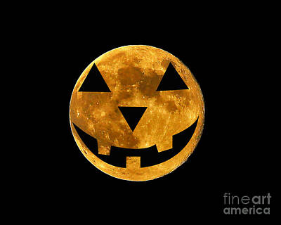 Lantern Digital Art - Jack-o-lantern Moon by Al Powell Photography USA