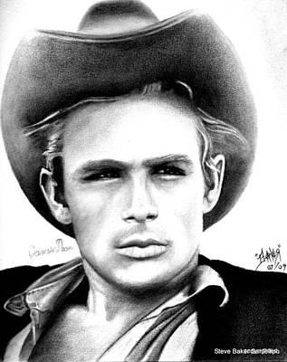 James Dean Art Print by Celebrity Portrait Art by Steve Baker Sanfellipo
