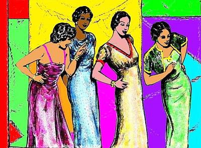 Evening Gown Drawing - Jazzy Ladies by Mel Thompson