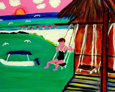Painting - Jenny Swinging Playa Sol by Ted Hebbler