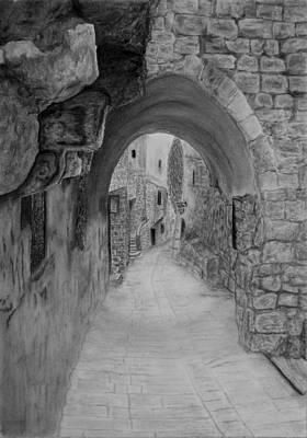 Jerusalem Old Street Art Print by Marwan Hasna - Art Beat