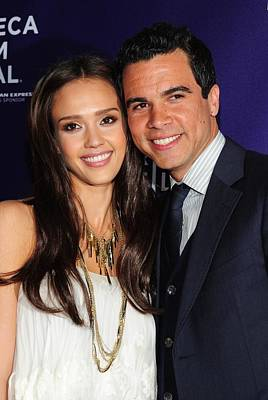 Jessica Alba, Cash Warren At Arrivals Art Print
