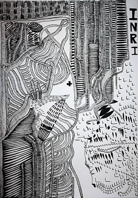 Drawing - Jesus And Mother Mary by Gloria Ssali
