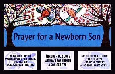 Hamas Painting - Jewish Prayer For A Newborn Son Blue Tree Of Life by Sandra Silberzweig