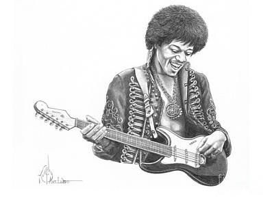 Jimi Hendrix Drawing - Jimi Hendrix by Murphy Elliott