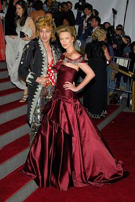 John Galliano, Charlize Theron Wearing Art Print by Everett