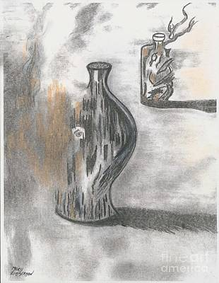 Mix Medium Drawing - Jug And Bottle by Mary Zimmerman