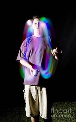 Biomechanic Photograph - Juggling Light-up Balls by Ted Kinsman