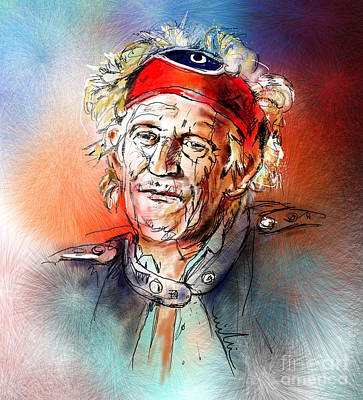 Rolling Stone Painting - Keith Richards by Miki De Goodaboom
