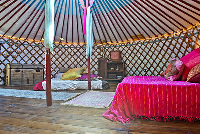 Yurts Photograph - King Sized Double Bed In A Luxurious by Corepics