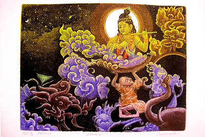 Krishna Leela Art Print by Indra Khatri