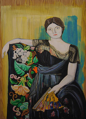 Wall Art - Painting - Lady With Fan by Jeremiah Dirt