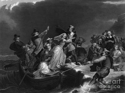 Landing Of The Pilgrims On Plymouth Art Print by Photo Researchers