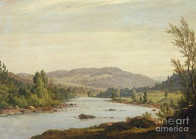 Bank Clouds Hills Painting - Landscape With River by Sanford Robinson Gifford