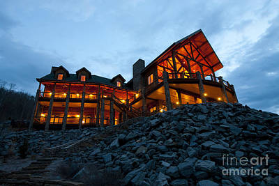 Large Wooden Hotel At Night Art Print by Will and Deni McIntyre