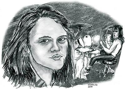 Drawing - Lars Ulrich by Chris  DelVecchio