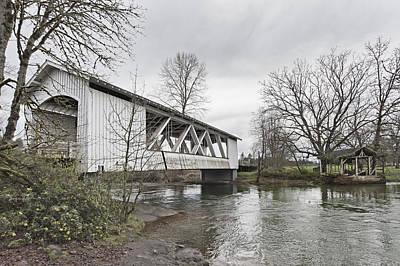 Larwood Covered Bridge Spanning Art Print by Douglas Orton