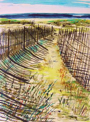 Sand Fences Drawing - Late In The Day by John Williams