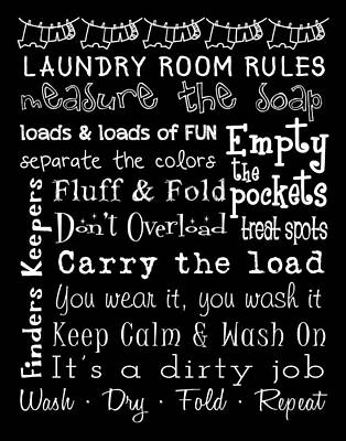 Digital Art - Laundry Room Rules Poster by Jaime Friedman