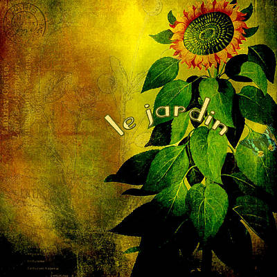Montage Mixed Media - Le Jardin by Bonnie Bruno