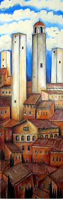 San Gimignano Painting - Le Torri Di San Gimignano by Roberto Gagliardi