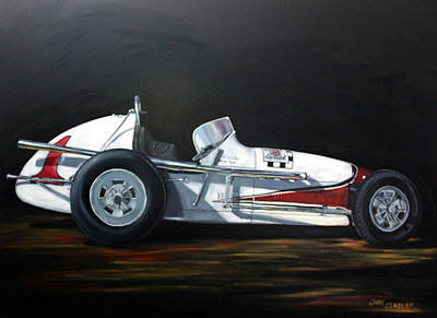 Indy Car Painting - Let's Race by Cindy Cradler