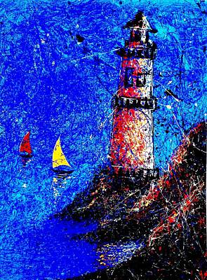 By Artist Singh Painting - Light House by Artist Singh