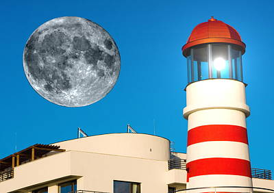 Pink Black Tree Rainbow Digital Art - Lighthouse And Moon by Odon Czintos