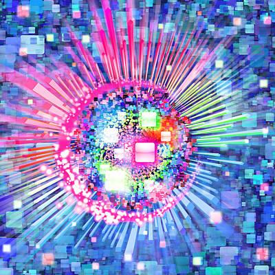 Technology Background Digital Art - Lighting Effects And Graphic Design by Setsiri Silapasuwanchai