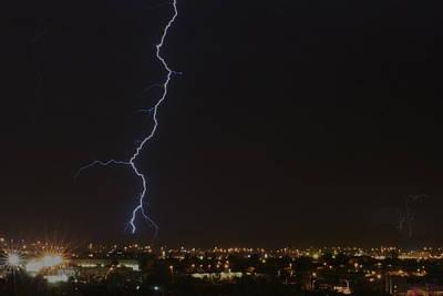 Lightnings Of Arizona Photograph - Lightning Over Tucson 2 Color by Bill Eggert